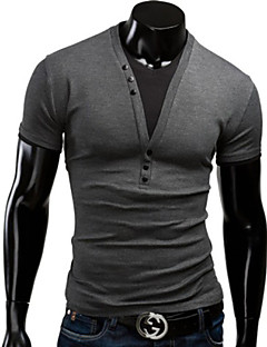 Men's Solid Casual T-Shirt,Others Short Sleeve-Black / Blue / Red / Gray