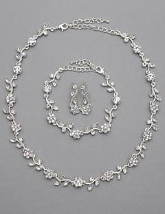 vackra tjeckiska strass legering pläterade bröllop halsband och örhängen smycken set