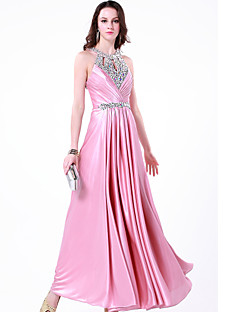 Formal Evening Dress - Blushing Pink A-line Jewel Floor-length Charmeuse