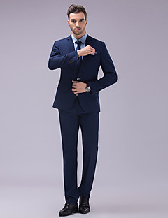 Suits Slim Fit Slim Notch Single Breasted Two-buttons Polyester Solid 2 Pieces Dark Blue White