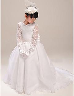 A-Lijn Hof Sleep Bloemenmeisje jurk - Organza/Satijn Korte mouw