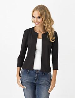 Damen Solide Niedlich Blazer ¾-Arm Kurz Baumwolle Polyester Others