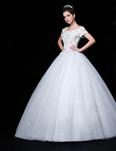 웨딩 드레스 - 화이트 볼 가운 바닥 길이 오프 더 숄더 레이스/오르간자/샤르뫼즈