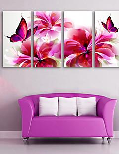 е-Home® растягивается холсте красная бабочка и цветы декоративной живописи набор 4