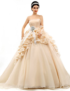 Ball Gown Court Train Wedding Dress -Strapless Organza