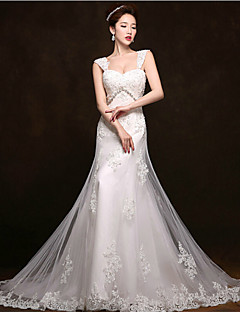 Trumpet/Mermaid Court Train Wedding Dress -Straps Tulle