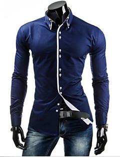 Повседневный - MEN - Повседневные рубашки ( Смешанная хлопковая ткань Как у рубашки - Длинный рукав