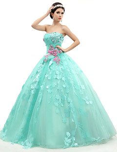 Formal Evening Dress Ball Gown Strapless Floor-length Organza / Tulle / Charmeuse with Appliques / Beading / Flower(s) / Ruching