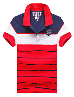 Men's Casual/Work/Formal Striped Short Sleeve Regular Polo (Cotton)