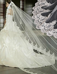 One-tier - Lace Applique Edge Cathedral Veils ( White/Ivory/Beige , Applique )