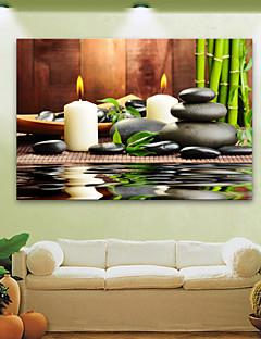 E-HOME® Stretched LED Canvas Print Art Candles And Stones LED Flashing Optical Fiber Print