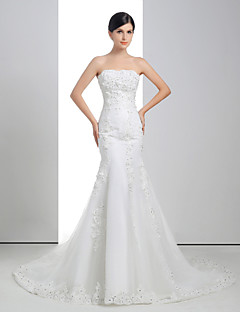 Trumpet/Mermaid Wedding Dress - White Court Train Strapless Lace/Organza/Charmeuse