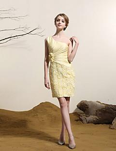 Cocktail Party Dress Sheath/Column One Shoulder Short/Mini Satin Dress
