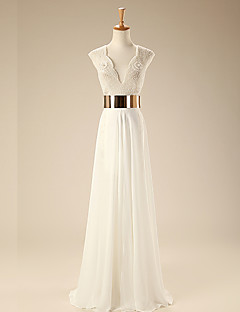 Formal Evening Dress - Ivory Trumpet/Mermaid Scalloped Floor-length Chiffon/Tulle