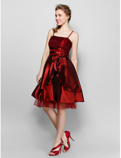 Ankle-length Polyester Bridesmaid Dress - Burgundy / Black Ball Gown Sweetheart