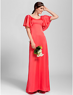 Lanting Bride Floor-length Satin Chiffon Bridesmaid Dress Sheath / Column Scoop Plus Size / Petite with