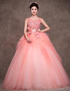 저녁 정장파티 드레스 - 블러슁 핑크 볼 가운 바닥 길이 보석 사틴/명주그물/폴리에스터