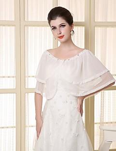 Wedding Wraps Capelets Chiffon/Satin Elegant Bride Wraps White