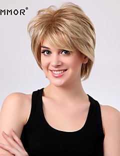 High Quality Capless Short Wavy Mono Top Human Hair Wigs 9 Colors to Choose