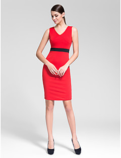 Homecoming Cocktail Party Dress - Ruby/Ivory Sheath/Column V-neck Knee-length Polyester