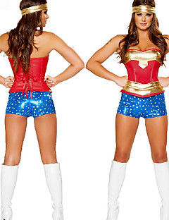 Deluxe Wonder Woman Golden & Blue Polyester Women's Halloween Party Costume