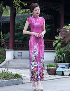 Dress Sheath/Column High Neck Ankle-length Velvet Dress