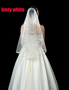 Two-tier - Ribbon Edge - Mantilla - Elbow Veils ( White/Ivory , Flower Comb )