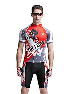 FORIDER® חולצת ג'רסי ומכנס קצר לרכיבה לגברים שרוול קצר אופניים נושם / ייבוש מהיר / עמיד אולטרה סגול חולצה+מכנס / מדים בסטיםאלסטיין /