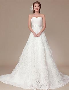 웨딩 드레스 - 화이트 A 라인 스위프/브러쉬 트레인 원 숄더 오르간자