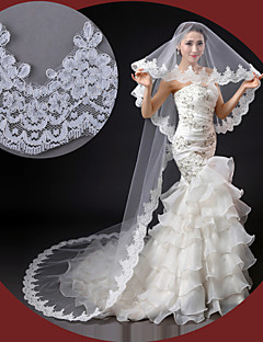 One-tier - Lace Applique Edge - Classic - Cathedral Veils ( White/Ivory , Embroidery )