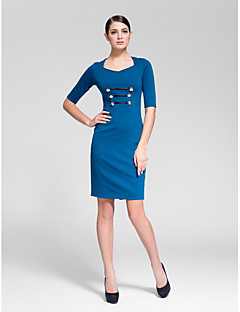 Cocktail Party Dress Sheath/Column V-neck Knee-length Polyester
