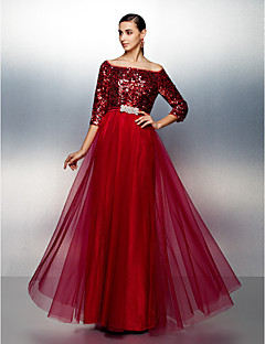 TS Couture Prom Dress - Sparkle & Shine A-line Bateau Floor-length Tulle Sequined with Sash / Ribbon Sequins