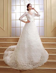 A-line Sweep/Brush Train Wedding Dress -V-neck Tulle
