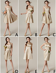 Lanting Bride® Knee-length Satin Bridesmaid Dress A-line / Princess Bateau / Jewel / One Shoulder / Strapless / Sweetheart / V-neckPlus