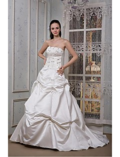 A-line Wedding Dress Chapel Train Scalloped-Edge Satin