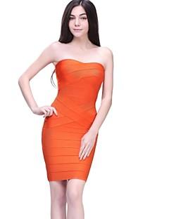 Cocktail Party Dress - Orange / Black Petite Sheath/Column Strapless Short/Mini Nylon Taffeta