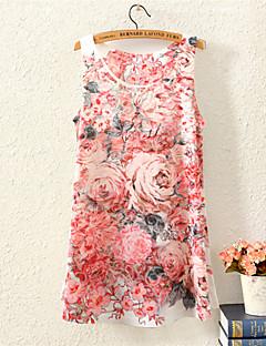Vrouwen Eenvoudig Zomer T-shirt,Casual/Dagelijks Print Ronde hals Korte mouw Meerkleurig Katoen / Polyester Medium