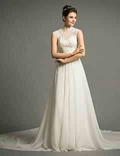 웨딩 드레스 - 아이보리(색상은 모니터에 따라 다를 수 있음) A 라인 쿼트 트레인 하이넥 쉬폰