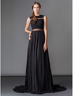 TS Couture® Formal Evening Dress - Black A-line Jewel Court Train Chiffon