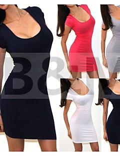 Sexy/Ležérní/Párty kulatý tvar - Krátké rukávy - ŽENY - Dresses ( Bavlna )