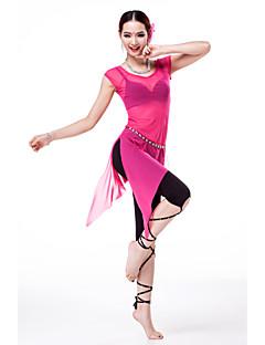 Dança do Ventre Roupa / Vestidos Mulheres Treino Elastano / Tule / Modal Pano-Lateral 3 Peças Manga Curta Caído Calças / Vestidos / Cinto