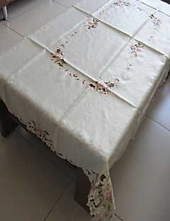 nappes blanches brodé rectangle classiques (taille: 100cmx150cm)