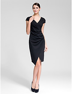 Cocktail Party Dress - Black Sheath/Column V-neck Asymmetrical Polyester