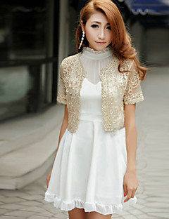 Wedding Wraps Boleros Short Sleeve Lace/Polyester Party/Casual Boleros Black/White/Pink/Almond Bolero Shrug