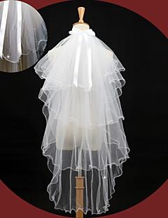 Véus de Noiva Quatro Camadas Véu Cotovelo Borda Lápis 43,31 cm (110cm) Tule Renda Marfim