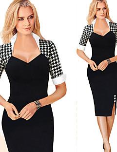 Párty/Práce čtvercový - Krátké rukávy - ŽENY - Dresses ( Bavlna/Polyester )