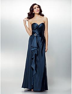 Vestido - Azul Marinho Escuro Festa Formal Tubo/Coluna Curação Longo Charmeuse