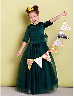 A-line Floor-length Flower Girl Dress - Satin Tulle Jewel with Bow(s) Sash / Ribbon