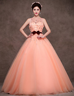 Formal Evening Dress - Orange Petite Ball Gown Jewel Floor-length Satin / Tulle / Polyester