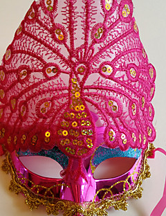 Peacock Displayed Fine Tail Feather Party Halloween  Masquerade Mask  Color Pink